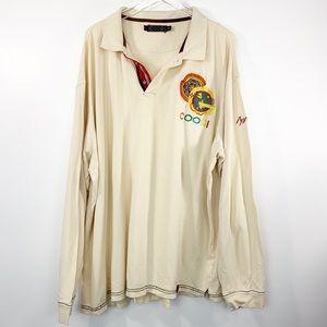 COOGI cream long sleeve polo shirt 6XL